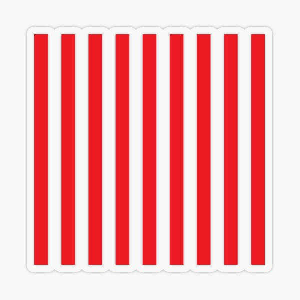 Red and White Stripes. Large red vertical stripes on a transparent background Transparent Sticker