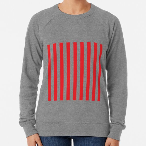 Red and White Stripes. Large red vertical stripes on a transparent background Lightweight Sweatshirt