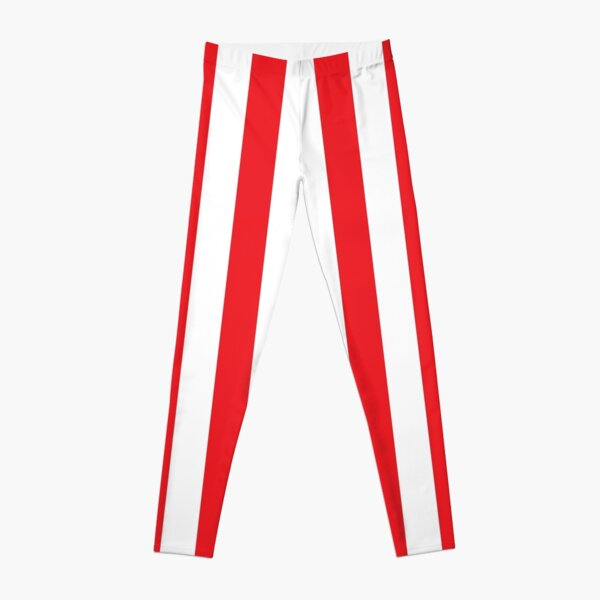 Red and White Stripes. Large red vertical stripes on a transparent background Leggings