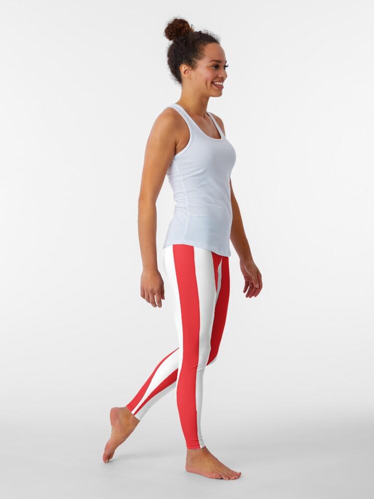 Large red vertical stripes on a transparent background: Leggings