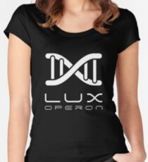 Lux Helix-White on Black Women's Fitted Scoop T-Shirt