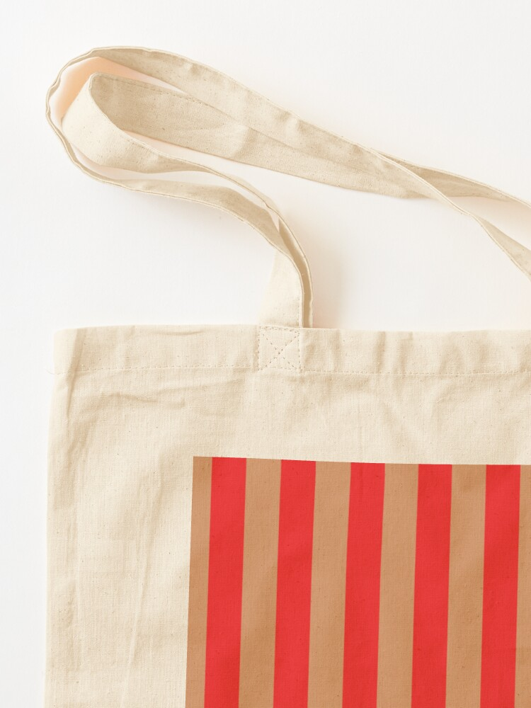 Alternate view of Large red vertical stripes on a flesh-colored background Tote Bag