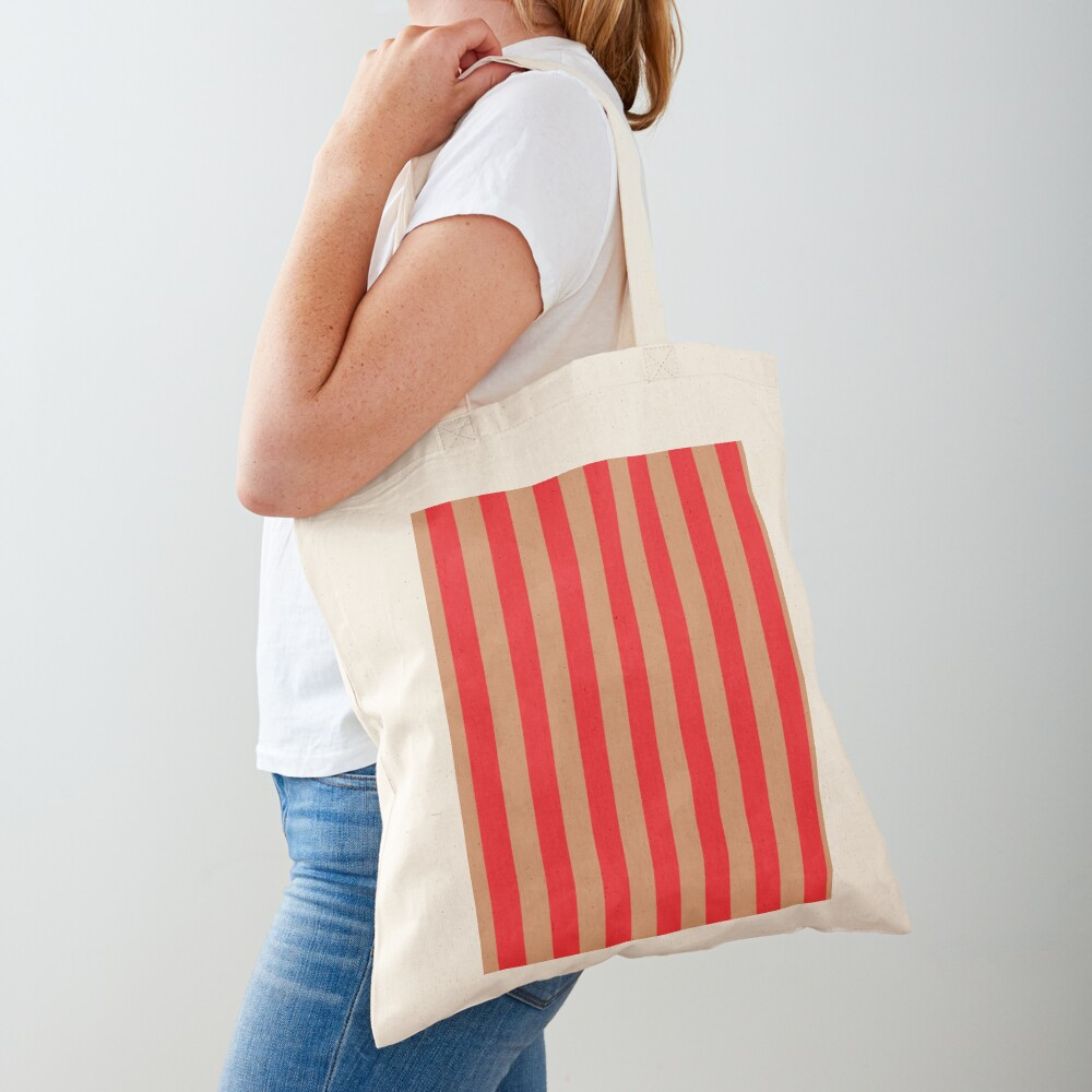 Large red vertical stripes on a flesh-colored background Tote Bag