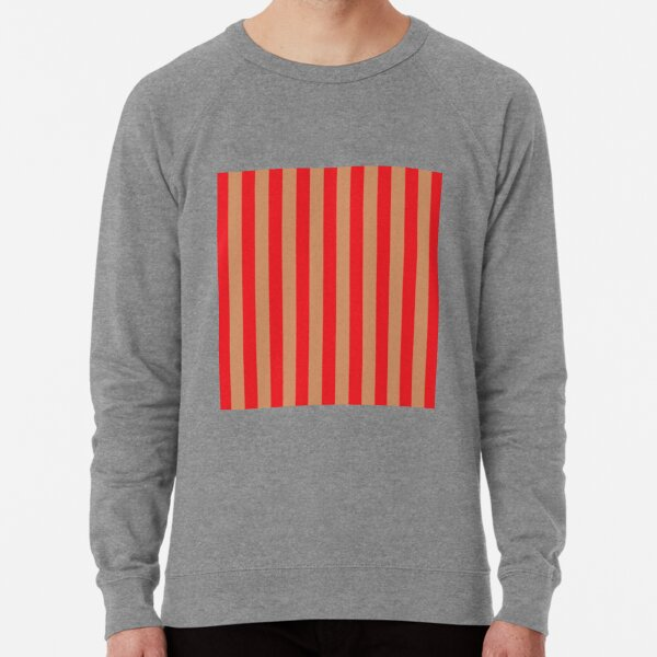 Large red vertical stripes on a flesh-colored background Lightweight Sweatshirt
