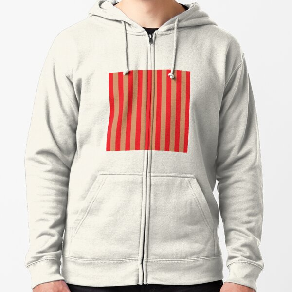 Large red vertical stripes on a flesh-colored background Zipped Hoodie