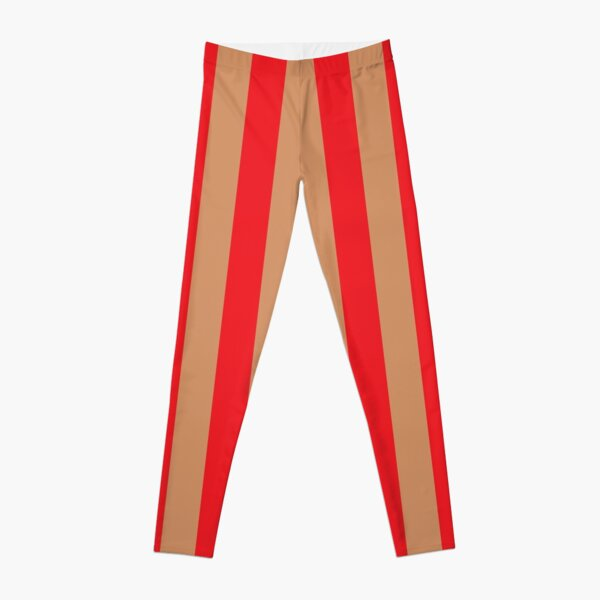 Large red vertical stripes on a flesh-colored background Leggings