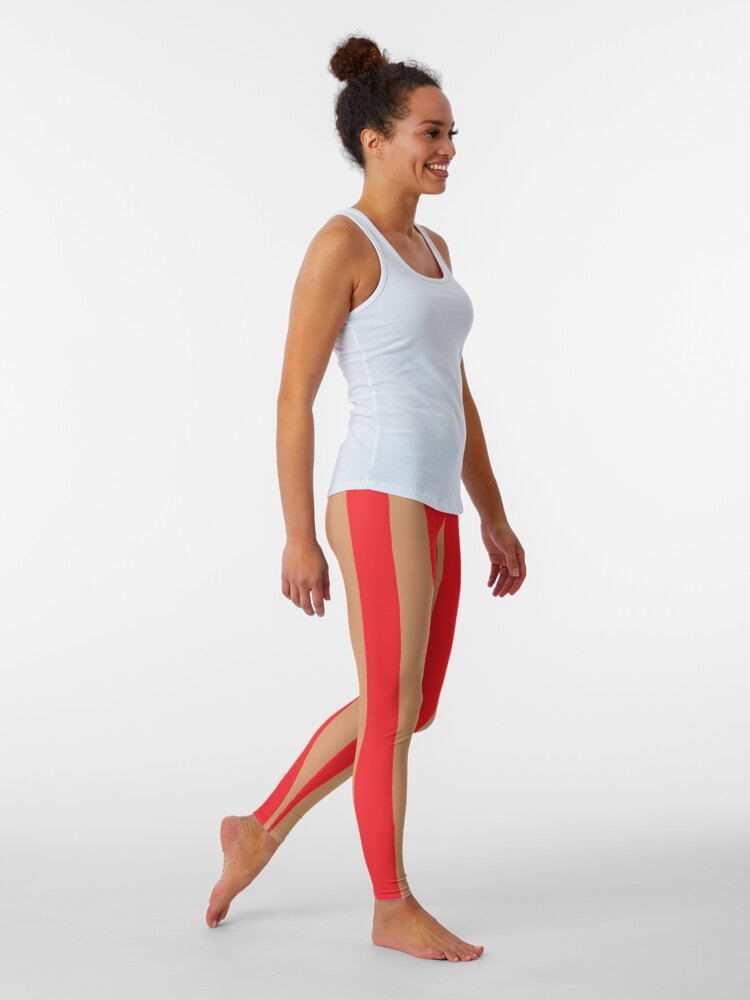 Large red vertical stripes on a flesh-colored background: Leggings