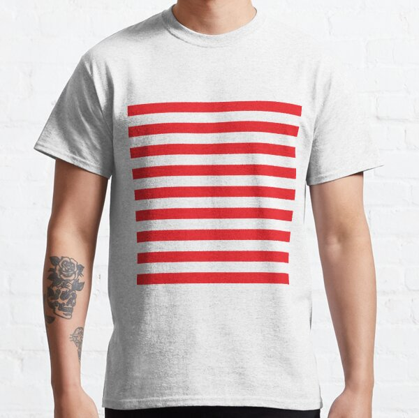 Red and White Stripes. Large red horizontal stripes on a transparent background Classic T-Shirt