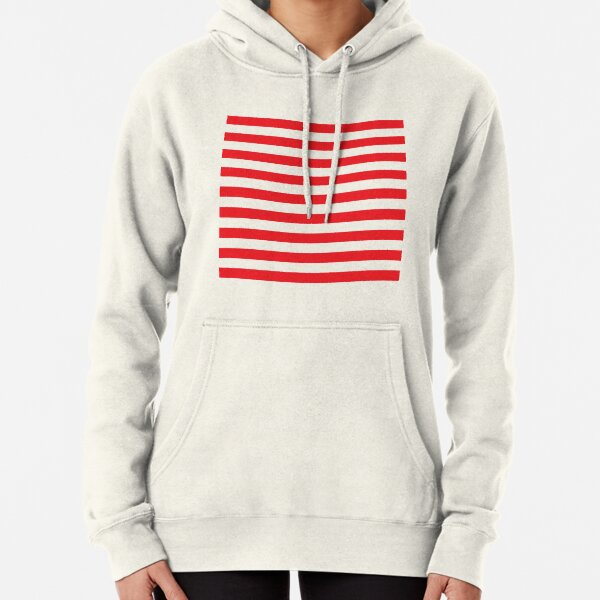 Red and White Stripes. Large red horizontal stripes on a transparent background Pullover Hoodie
