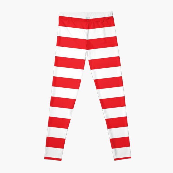 Red and White Stripes. Large red horizontal stripes on a transparent background Leggings