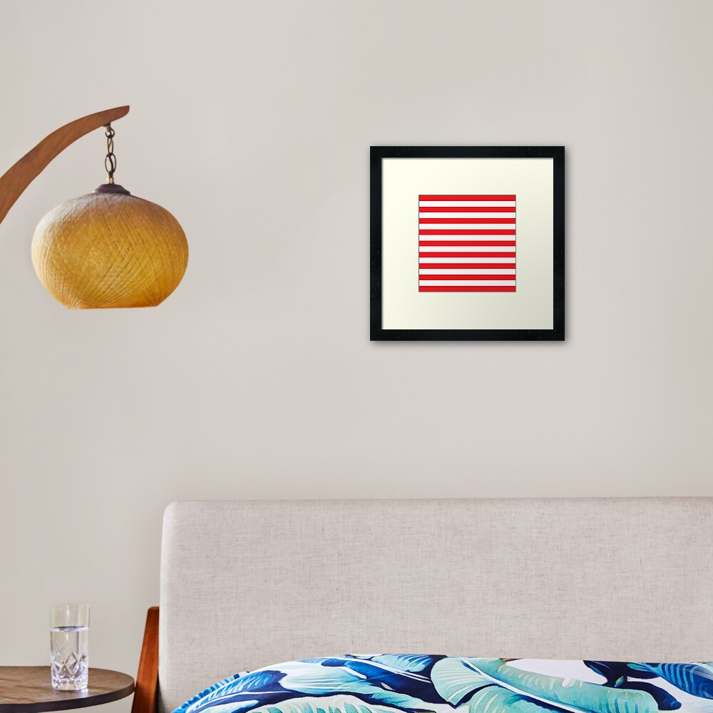 Red and White Stripes. Large red horizontal stripes on a transparent background Framed Art Print