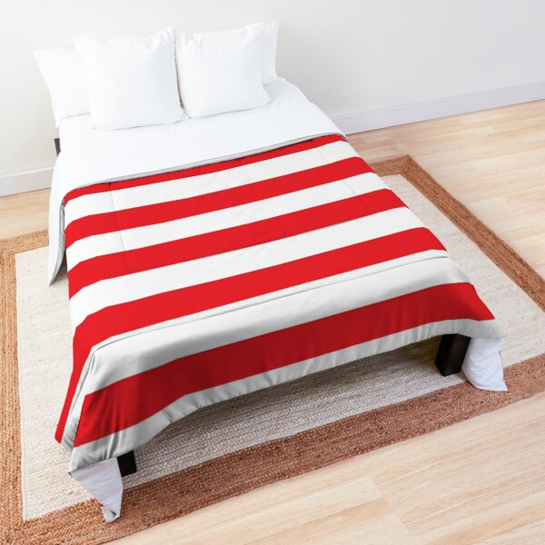 Red and White Stripes. Large red horizontal stripes on a transparent background Comforter