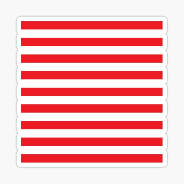 Red and White Stripes. Large red horizontal stripes on a transparent background Sticker