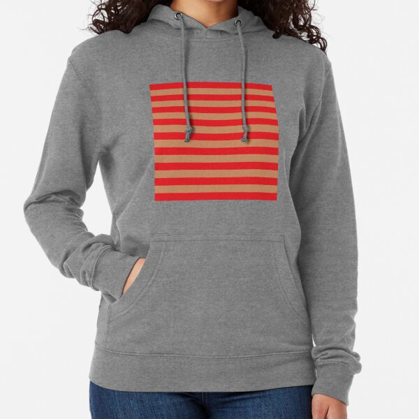 Large red horizontal stripes on a flesh-colored background Lightweight Hoodie