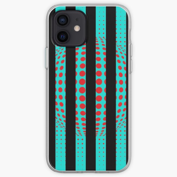 Blue and Black Stripes. Large Blue vertical stripes on a black background iPhone Soft Case