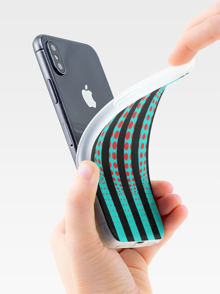 Alternate view of Blue and Black Stripes. Large Blue vertical stripes on a black background iPhone Case