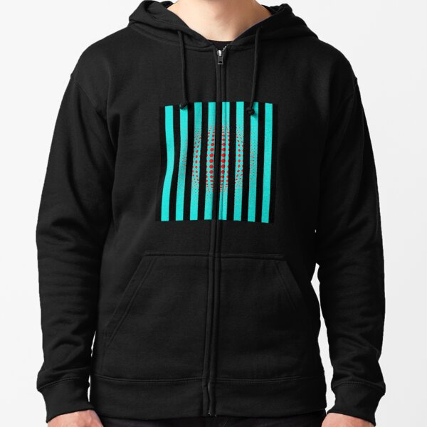 Blue and Black Stripes. Large Blue vertical stripes on a black background Zipped Hoodie