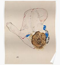 Egon Schiele - Nude with Blue Stockings, Bending Forward 1912 Woman Portrait Poster