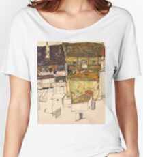 Egon Schiele - Old Houses in Krumau, 1914 Landscape Women's Relaxed Fit T-Shirt