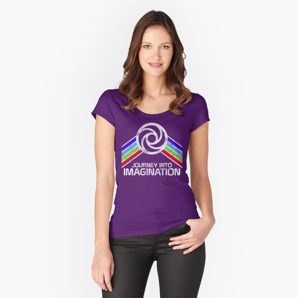 Reise in die Phantasie Distressed Logo im Vintage-Retro-Stil Tailliertes Rundhals-Shirt