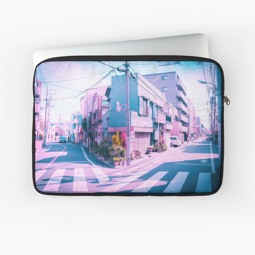 Anime in Real Life Vaporwave Summer Day in Tokyo Residential area  Laptop Sleeve