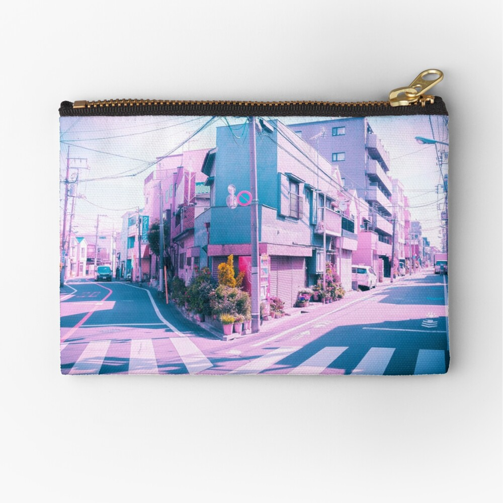 Anime in Real Life Vaporwave Summer Day in Tokyo Residential area  Zipper Pouch