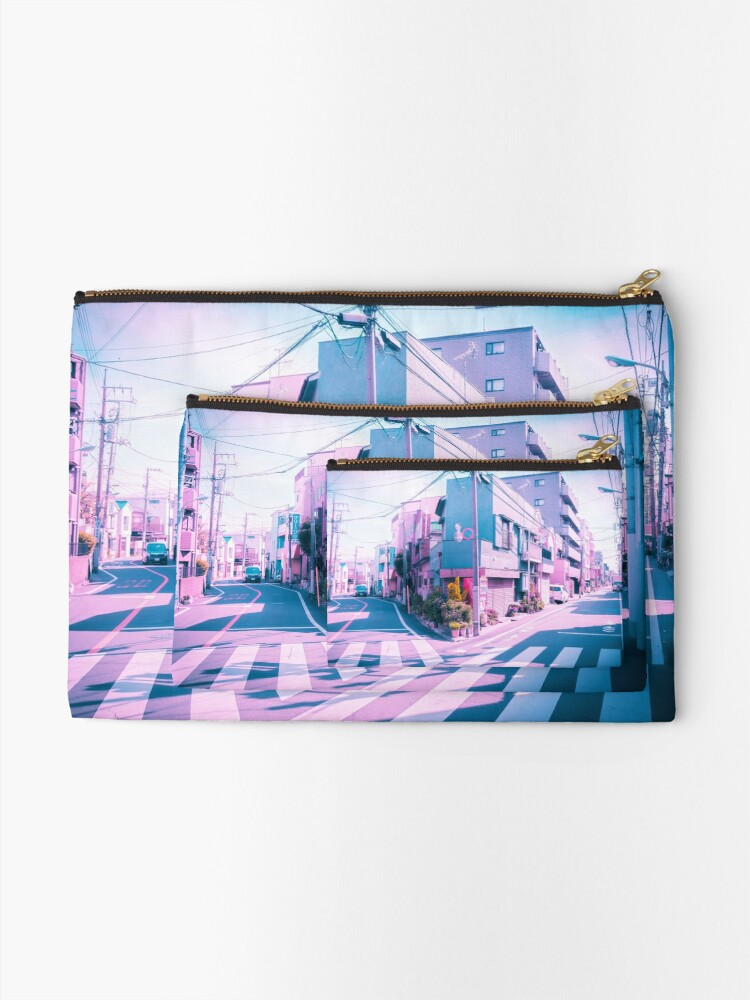 Alternate view of Anime in Real Life Vaporwave Summer Day in Tokyo Residential area  Zipper Pouch