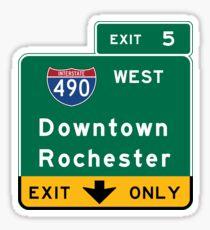 Pegatina Rochester, Road Sign, Nueva York