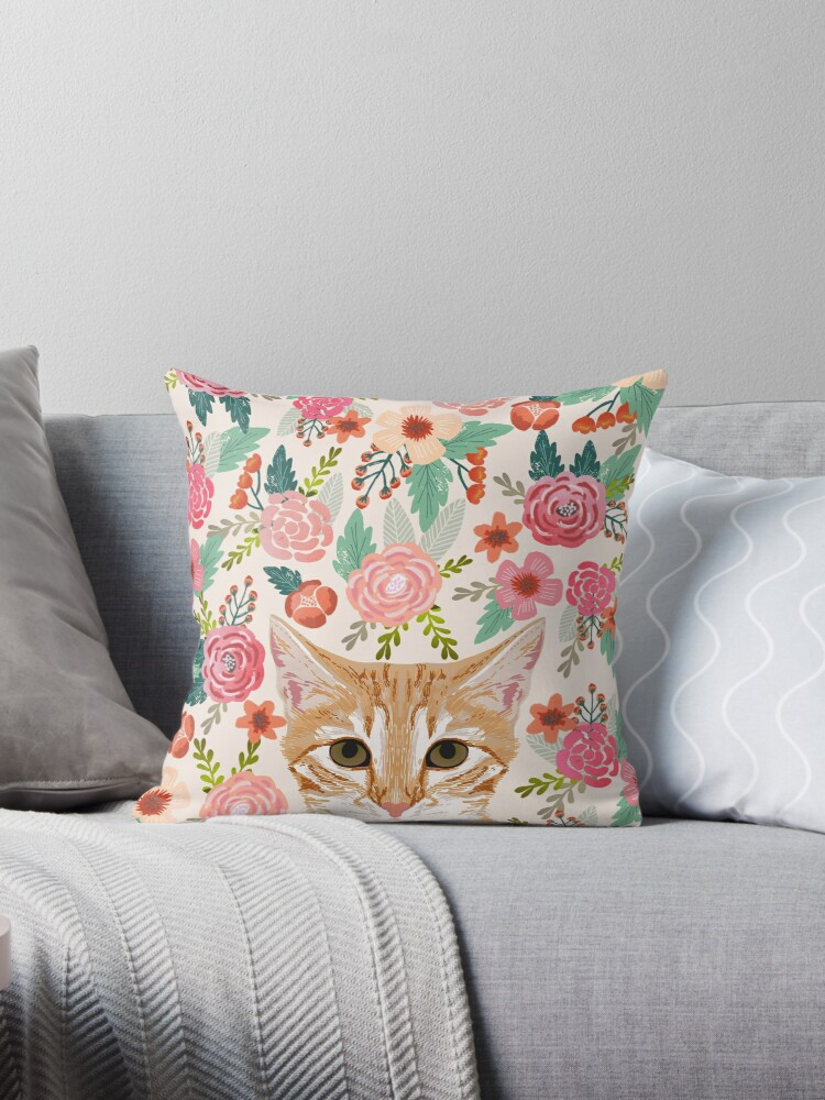 Quot Tabby Cat Florals Spring Cute Girly Cat Lady Gifts Orange