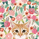 Tabby Cat florals spring cute girly cat lady gifts orange tabby cat owners by PetFriendly
