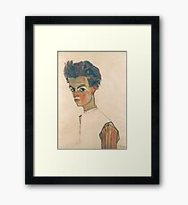 Egon Schiele - Self-Portrait with Striped Shirt 1910  Expressionism  Portrait Framed Print