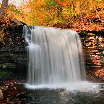 Warm Autumn Sunlight on the Mist of Harrison Wright Falls by ProfAudio