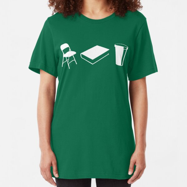 Folding chairs, books and coffee Slim Fit T-Shirt