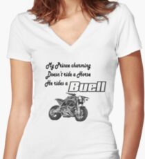 Buell rider Women's Fitted V-Neck T-Shirt