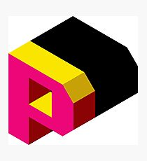 Letter P Isometric Graphic Photographic Print