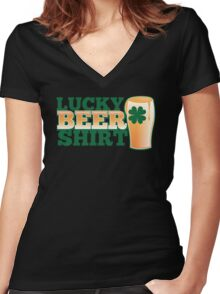 Lucky BEER shirt Women's Fitted V-Neck T-Shirt