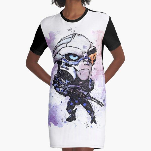 Garrus Vakarian - Let Evil Beware - Chibi - Watercolor Sketch Graphic T-Shirt Dress