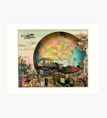 1910 Modern transportation train, truck, plane, ship, globe Art Print