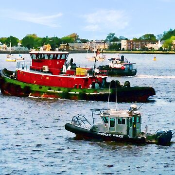 Norfolk VA - Police Boat and Two Tugboats by SudaP0408