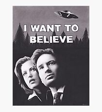 Original Charcoal Drawing of X Files I Want to Believe Photographic Print