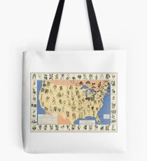 1932 Medicinal Plant Map of the United States. Amazing map of 'Herbal Cures' Tote Bag