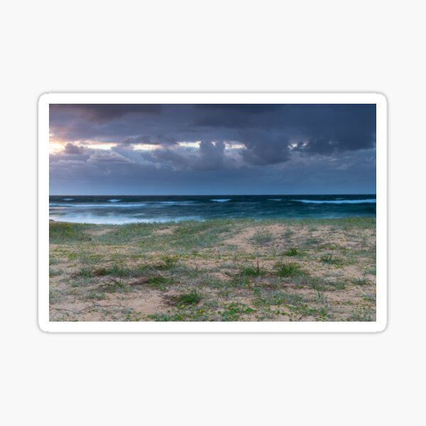Moody morning bay seascape with rain clouds Sticker