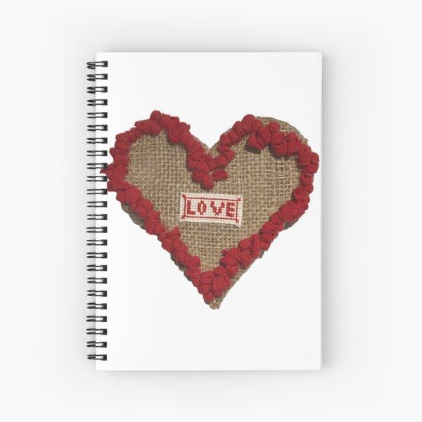 Hook Rugged Love Heart on Hessian Spiral Notebook