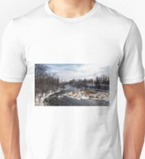 Mill on a river in winter Unisex T-Shirt