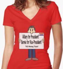 HILLARY + BERNIE:  THE winning ticket! Women's Fitted V-Neck T-Shirt