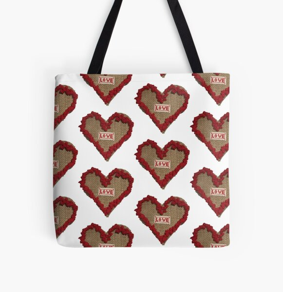 Hook Rugged Love Heart on Hessian vsn 2 All Over Print Tote Bag