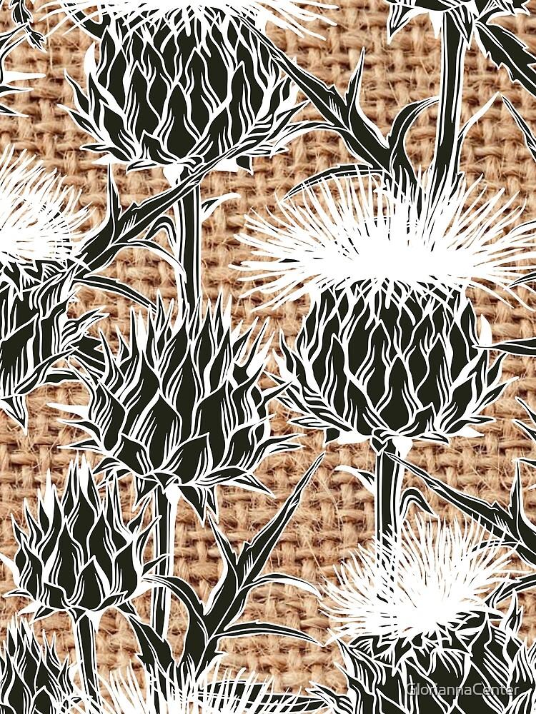 Burlap jute thistle pattern by GloriannaCenter