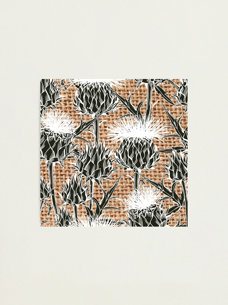 Alternate view of Burlap jute thistle pattern Photographic Print