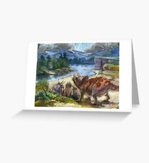 Herd of triceratopses is walking to a river Greeting Card