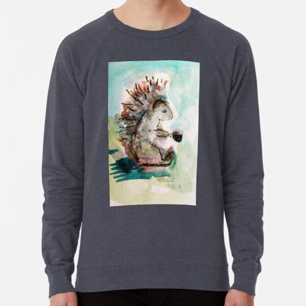 """Hedgehog W. likes his Coffee, BLACK!"" Lightweight Sweatshirt"